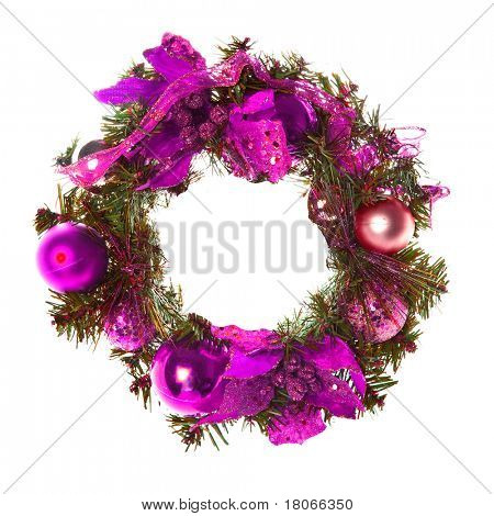Purple christmas garland with baubles and ribbons on white.