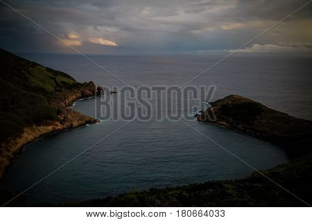 Sunset view mount Guia at Faial island Azores Portugal