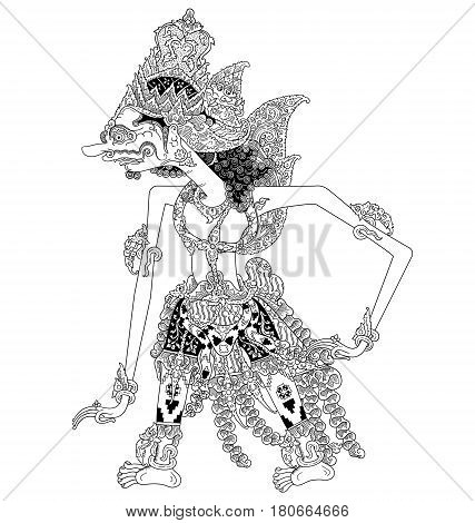 Darmawasesa, a character of traditional puppet show, wayang kulit from java indonesia.