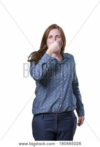Pretty Business Woman Doing Cover Her Noise Gesture Over White Background