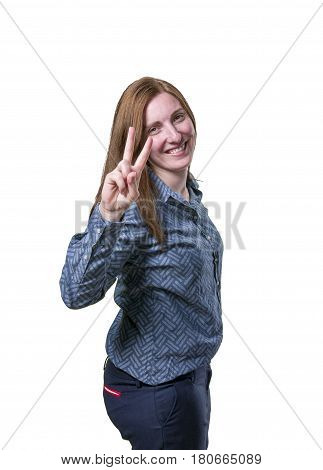 Pretty Business Woman Making Victory Gesture Over White Background