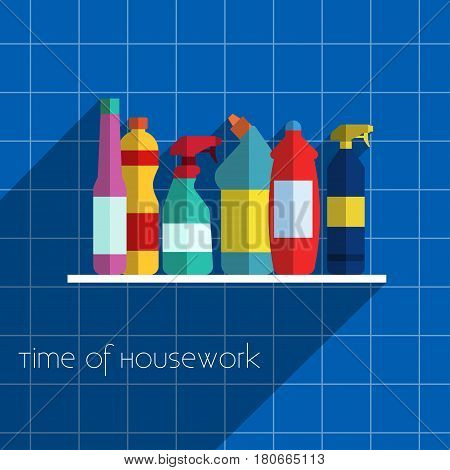 Household chemicals Vector illustration Different household chemicals on the white shelf in the bathroom Flat design
