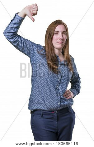 Pretty Business Woman Making Thumb Down Gesture Over White Background