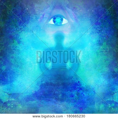 Man with third eye psychic supernatural senses , raster