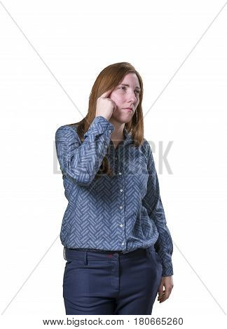 Pretty Young Businesswoman Thinking On White Background
