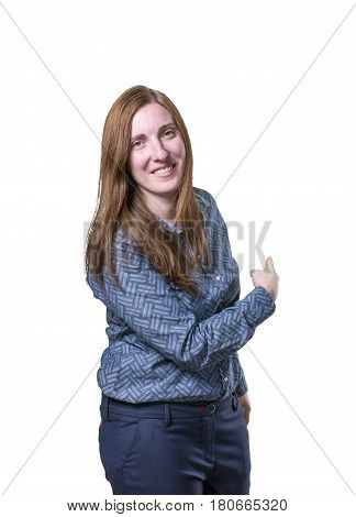 Pretty Business Woman Presenting Something Over White Background.