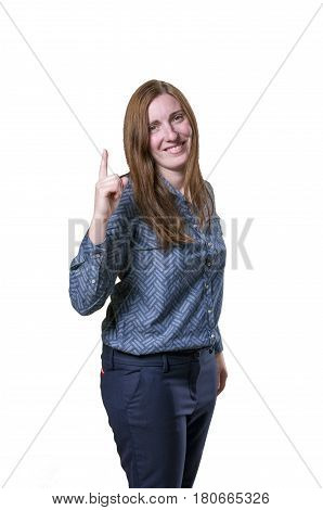 Pretty Business Woman Have An Idea White Background.
