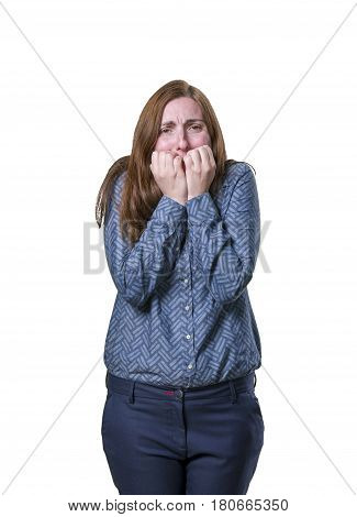 Pretty Business Woman Making Scary Gesture White Background.