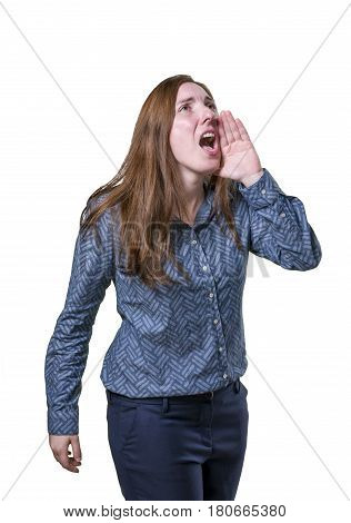 Pretty Business Woman Screaming Over White Background