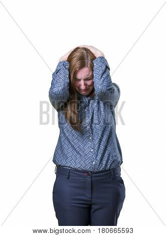 Pretty Business Woman Have Big Problems Over White Background