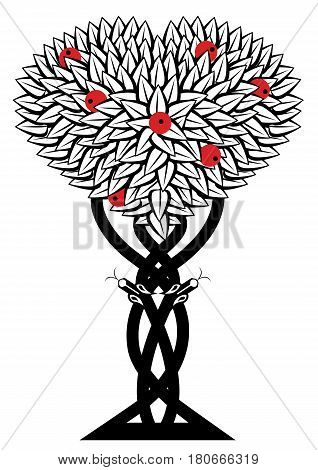 vector illustration with apple tree and snake in black white and red colors