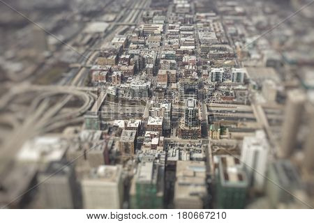 Chicago city Skyline Aerial View in USA