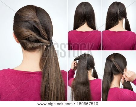 simple hairstyle pony tail with twisted hair tutorial step by step. Hairstyle for long hair tutorial