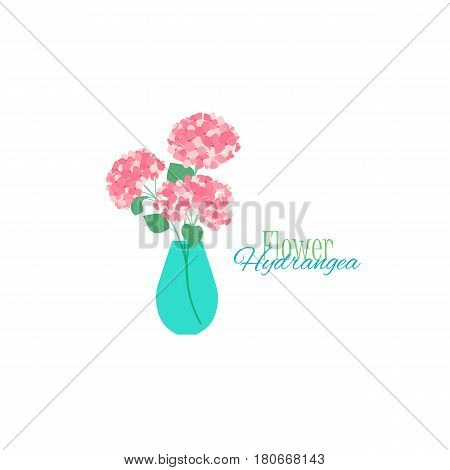 Vector illustration of hydrangea flower. Background with a vase of flower