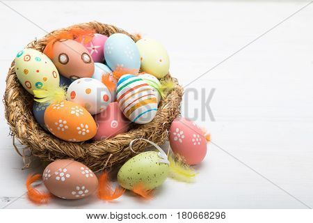 Colored Easter eggs in the basket on a white background. Easter background. Easter eggs.