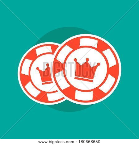 Poker chips. Poker chips concept. Poker vector illustration. Poker chips isolated. Poker sign on green background