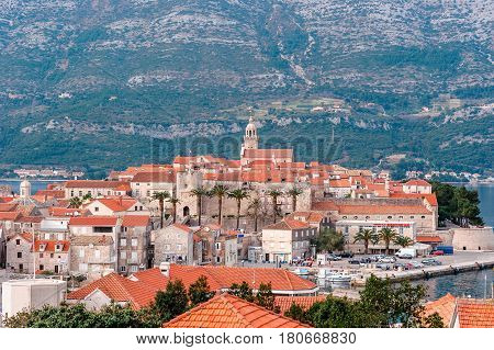 Panoramic View At Old Town Of Korcula On The Island Of Korcula, Croatia