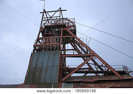 Header and lifting wheel at Blaenavon Coal mine, Wales