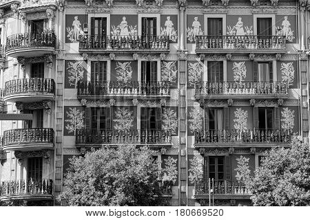 Barcelona (Catalunya Spain): buildings in the Avinguda del Paral-lel. Black and white