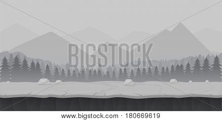 Cartoon forest game background landscape. Vector illustration. Black and white illustration.