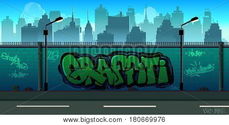 Graffiti wall background, urban art , vector unending background with separated layers for game.