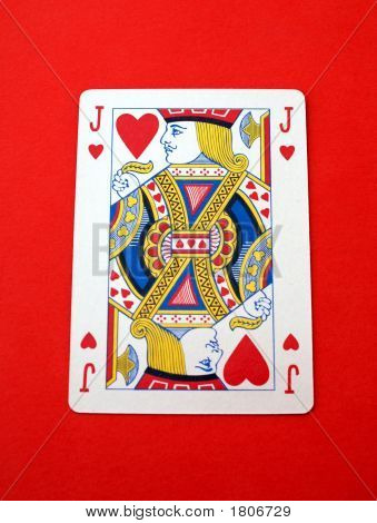Playing card. Gambling. Game. Jack O Knave of hearts. Man surrounded with many hearts/many lovers. Casenova. Lover poster