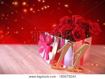 birthday concept with red roses in gift on wooden desk. 3D render - eleventh birthday. 11th