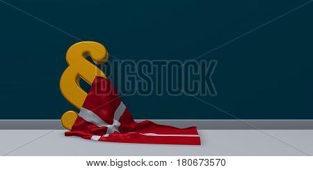 paragraph symbol and danish flag - 3d illustration