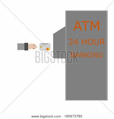 Hand inserting ATM card into bank machine to withdraw money on white background.