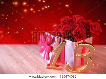 birthday concept with red roses in gift on wooden desk. 3D render - thirteenth birthday. 13th
