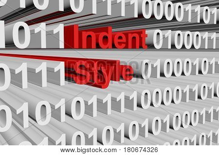Indent style in the form of binary code, 3D illustration