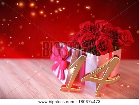birthday concept with red roses in gift on wooden desk. 3D render - fourteenth birthday. 14th