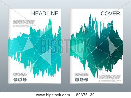 Brochure template layout flyer cover annual report magazine structure of molecular particles and atom polygonal abstract background