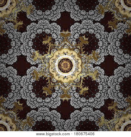 Golden pattern on brown background with white doodles. Vector golden pattern. Seamless golden textured curls in oriental style arabesques.
