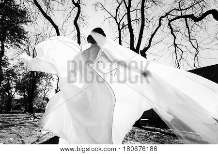 A view from behind on a bride's back while she whirls in the park