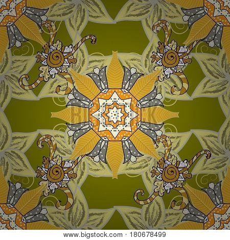 Vintage baroque mandala ornament on colorful background. Retro pattern antique style acanthus. Decorative design element filigree calligraphy. Vector illustration.