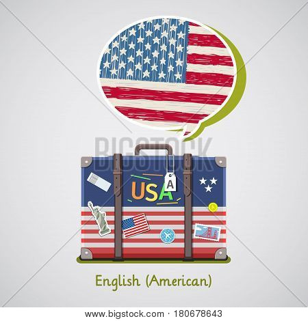 Concept of travel or studying English. Hand drawn American flag in speech bubble above suitcase with american symbols.