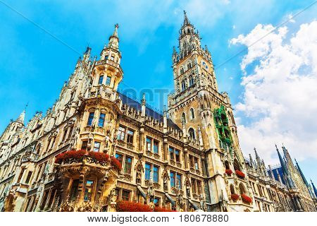 Scenic summer view of ancient gothic City Hall building architecture in the Old Town of Munich Bavaria Germany