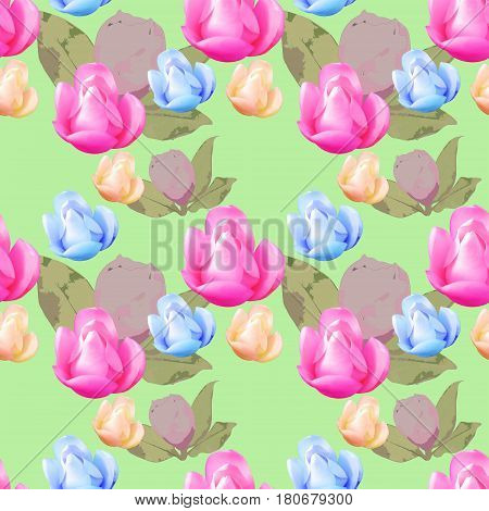 Magnolia. Texture of flowers. Seamless pattern for continuous replicate. Floral background photo collage for production of textile cotton fabric. For use in wallpaper covers.