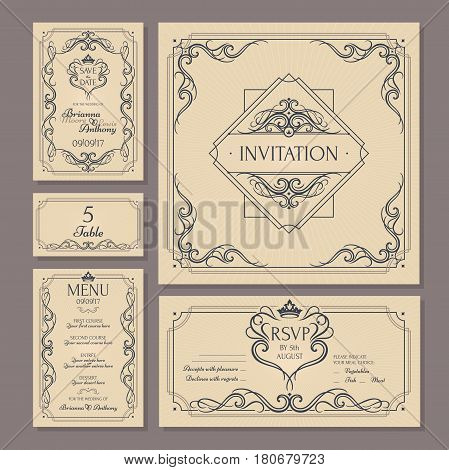 Calligraphic vintage floral wedding cards collection. Vector illustration