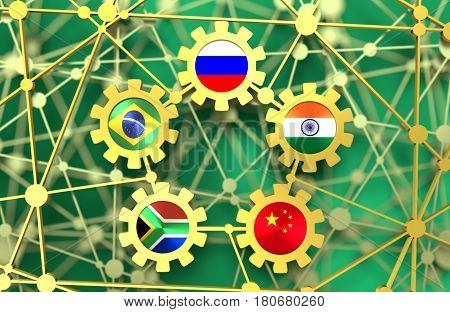 BRICS - association of five major emerging national economies members flags in gears icons. Trade union. Molecule And Communication Background. Brochure or web banner design. 3D rendering