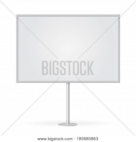 Blank whiteboard with empty copy space stand on one bar support. Mockup board with single stand in vector. White billboard with frame for message commercial or presentation rectangle and horizontal.