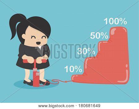 business woman Make more revenue. llustration eps . 10