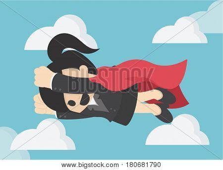 Super Business Woman. Business Concept Cartoon llustration eps . 10