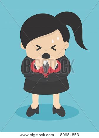 business woman in handcuffs isolated llustration eps . 10