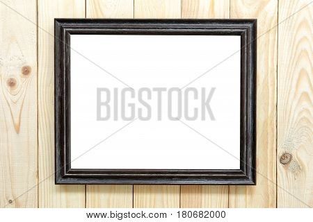 Black wood frame on wooden floor and have square of copy space.