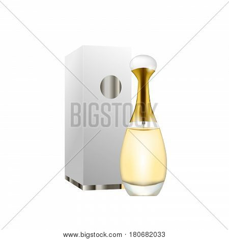 Vector Perfume Fashion Container Smell Spray Bottle Template. Vector Illustration Perfume Shop Symbo