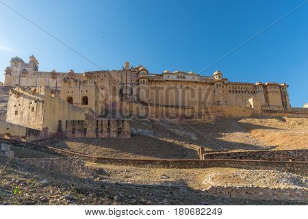 The Impressive Landscape And Cityscape At Amber Fort, Famous Travel Destination In Jaipur, Rajasthan
