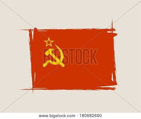 Soviet grunge flag with scratches on edges. A hand drawn scratched flag of USSR with a easy grunge texture. Vector design.