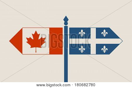 Image relative to politic situation between Canada and Quebec. National flags on destination arrow road